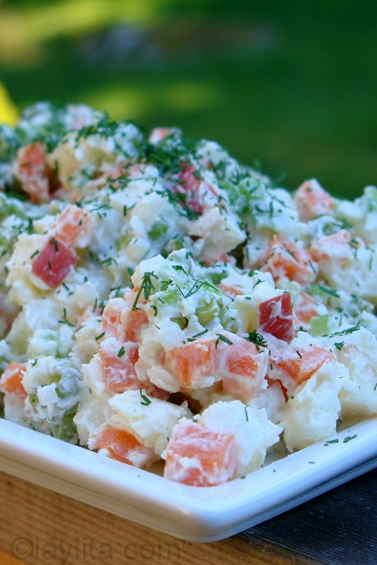 Ensalada rusa potato salad (Russian potato salad also served in Ecuador and other South American countries)