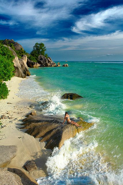 Beautiful seascape in La Digue Island, Seychelles