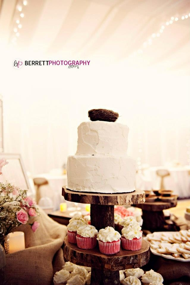 #LDS cultural hall wedding reception in Dallas, Texas. Rustic wedding cake and cupcakes. Photography by @Nicole Berrett