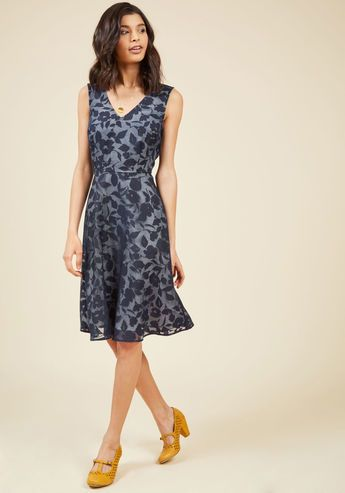Flair in Layers Floral Dress in Navy - As a simple, white cocktail dress, this effortless A-line could certainly stun on its own. However, this ModCloth-exclusive beauty ups the luxury of its look with a gorgeous burnout overlay, detailed with a swirl of navy blue flowers for an expressive impact full of depth and dimension!
