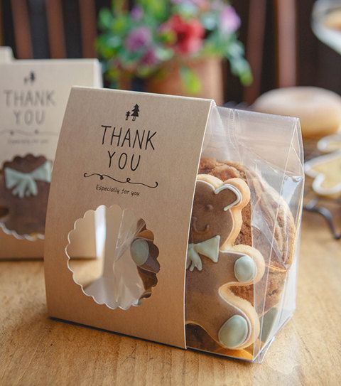10 cookie gift packaging sets Kraft bands with clear cookie bag,cookie favor packaging, wedding favor, baby shower favor, gift packaging