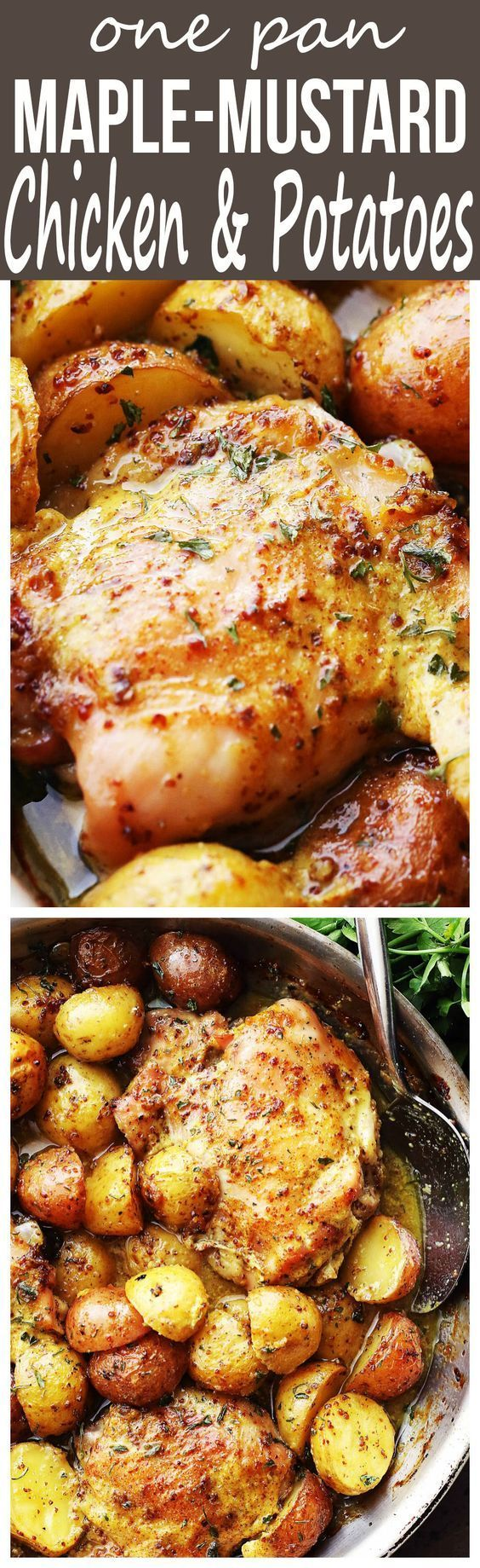 This One Pan Maple Mustard Chicken and Potatoes recipe is an easy and absolutely delicious one pan dinner with chicken thighs and potatoes cooked in an all-natural pure maple syrup and mustard dressing. Perfect for weeknight dinner, meal prep and the holidays!