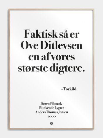 """Plakat Blinkende Lygter """"faktisk er ove ditlevsen en af vores største danske digtere"""" www.citatplakat.dk"""