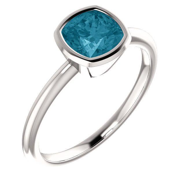 14K white london blue topaz bezel ring