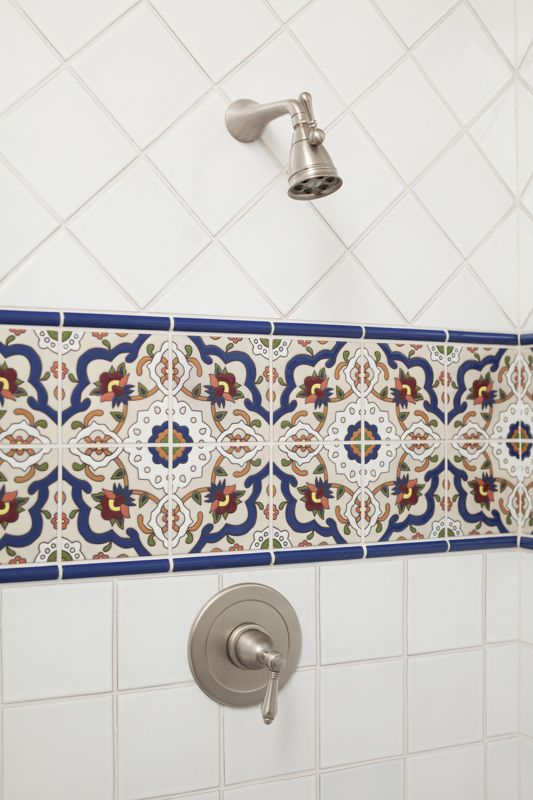 Cuerda Seca Bathroom Shower Tiles With White Gloss Field Tile At Fireclay Www
