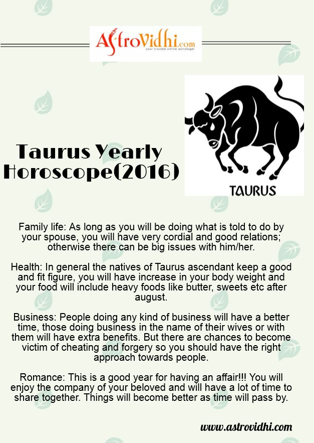 Know your Taurus yearly horoscope and also your Taurus love, career and business horoscope.
