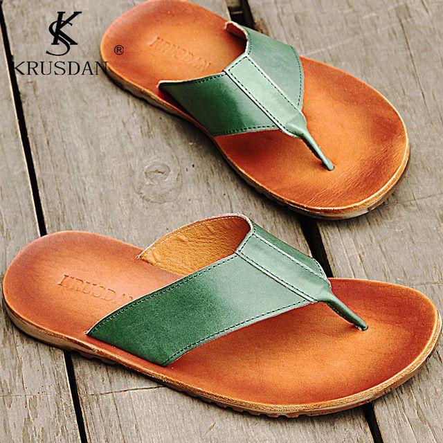 Zapatos de Cuero Genuino de los hombres Sandalias Flip-Flop Hombre Marca de Lujo de Estilo Italiano zapatos hombres Sandalias Zapatillas de Playa Flip Los fracasos de Los Hombres