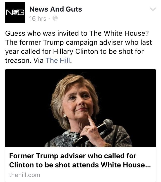 Guess who was invited to the White House? The former trump campaign advisor who last year called for Hillary Clinton to be shot for treason.