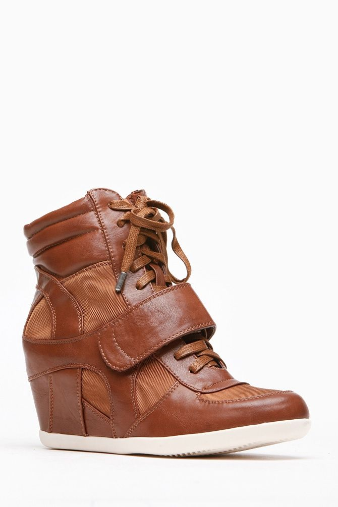 Bamboo Chestnut Faux Leather Wedge Sneakers @ Cicihot