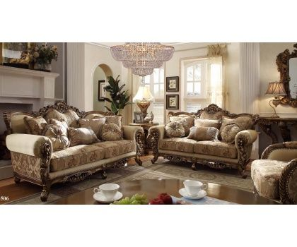 HDS Victorian Era Design Tan Fabric Upholstered Living Room Set With Accent Pillows And Decorative Wood Trims