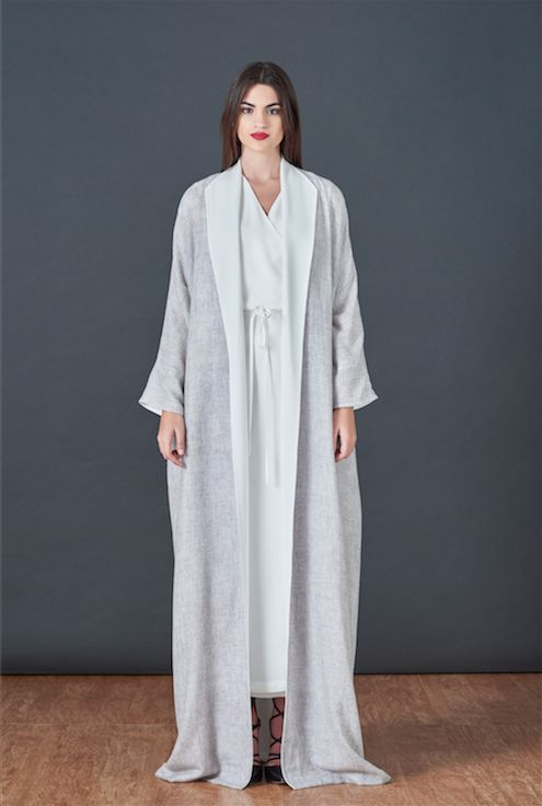 BOUGUESSA F/W15-16 Collection - Two Tone Cashmere Cardigan Abaya