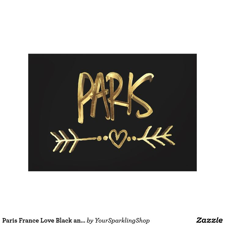 Paris France Love Black and Gold Look Typography