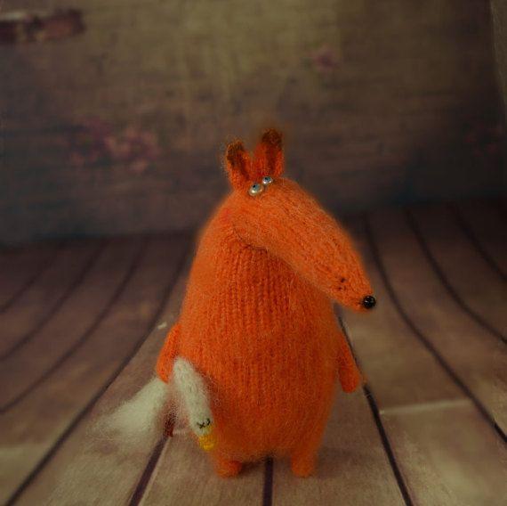Fox with goose stuffed toys cute Miniature fox Amigurumi Animal foxes Hand-Knitted fox Stuffed wool fox doll crochet Halloween decor toys