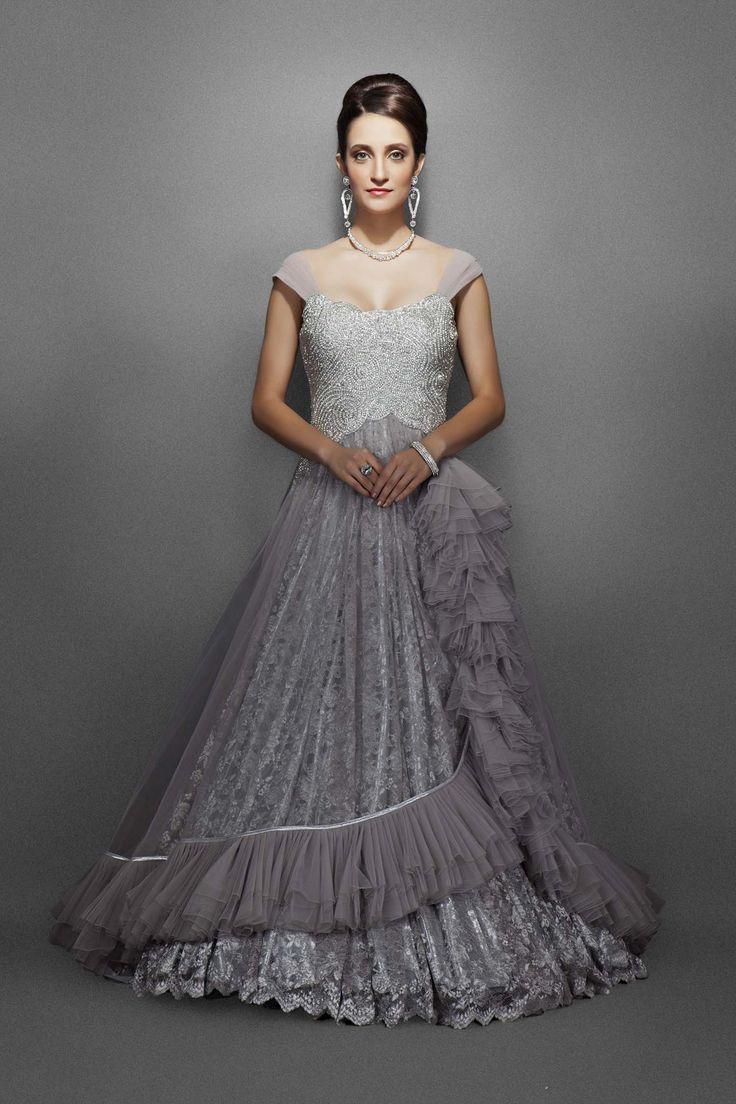 Grey silver color bridal gown – Panache Haute Couture