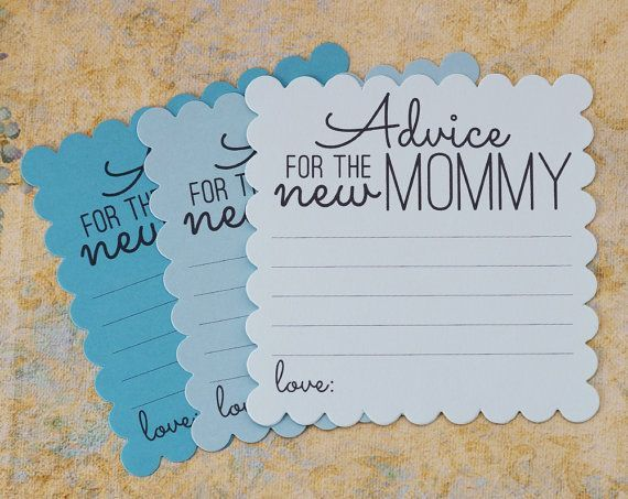 Blue Advice for the new Mommy cards are a fun activity during baby showers. You will receive a mix of 3 shades of blue, light, medium, and dark - perfect for baby boy showers. These cards are lots of fun to read and will be keepsakes for the new mommy. Printed on one-side of a scalloped square made from card stock. The back is blank for additional room to write long comments. Card Size: 4.5 {W} x 4.5 {H} inches COLORS: Mix of 3 shades of Blue - light, medium, dark Text Color: Dark Grey…
