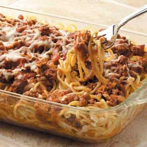 Baked Spaghetti Recipe from Taste of Home. Delicious and fairly low cal!