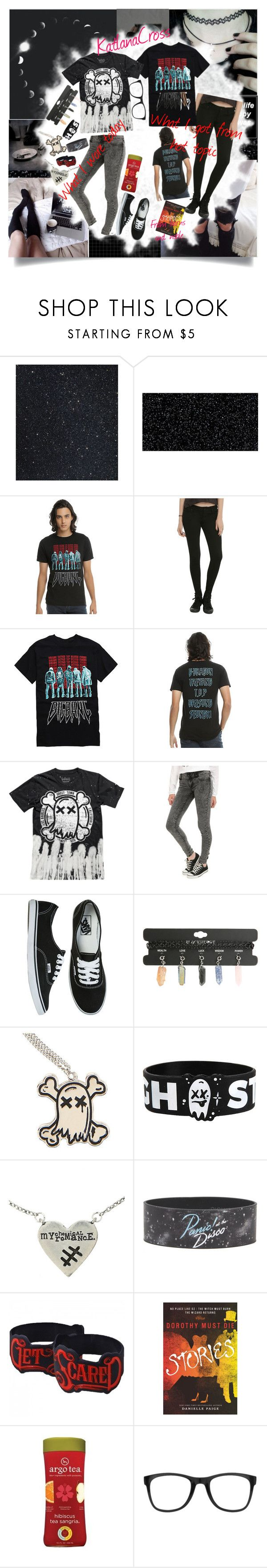 """""""RTD — Hot Topic and Barns and Noble Haul/What I Wore Today"""" by katlanacross ❤ liked on Polyvore featuring GHETTO FAB, Hot Topic, Vans, Carrera, hottopic, BandMerch, whatiworetoday, haulset and hottopichaul"""