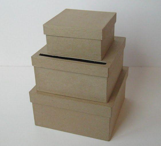 Box SMALL Unfinished 3 tier card Box Wedding, Diy wedding card box ...