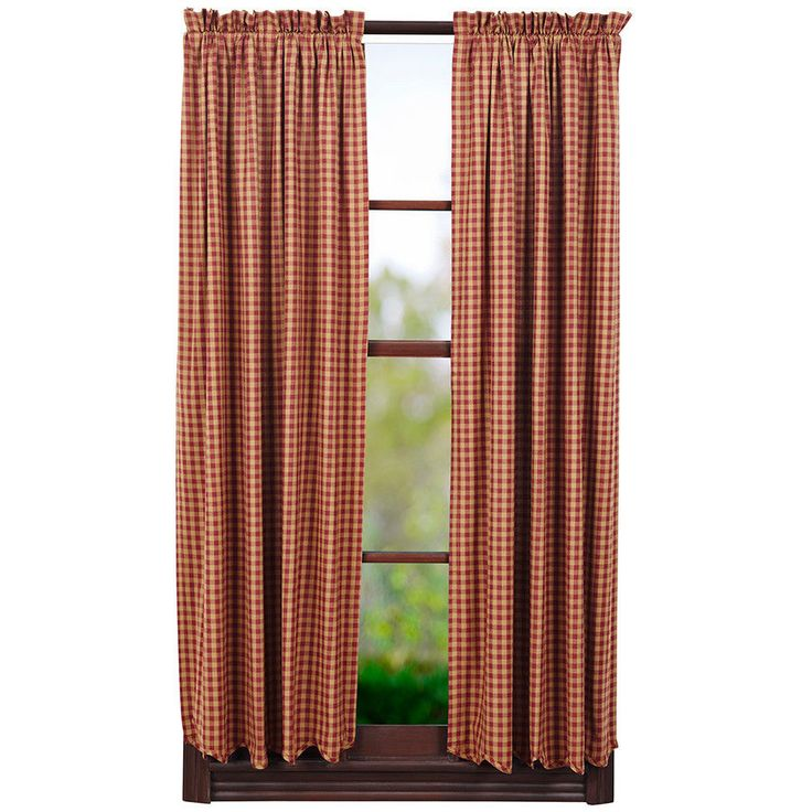 Wonderful New Primitive Country BURGUNDY RED TAN Check Scalloped Curtain Window  Panels #Cambridge #Country