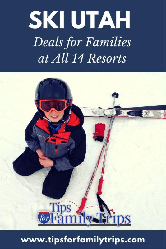 Ski Deals for families at all 14 of Utah's winter resorts | tipsforfamilytrips.com | snowboard deals | lift ticket deals | kids ski free | Ski Utah | winter activities | family travel | winter vacation