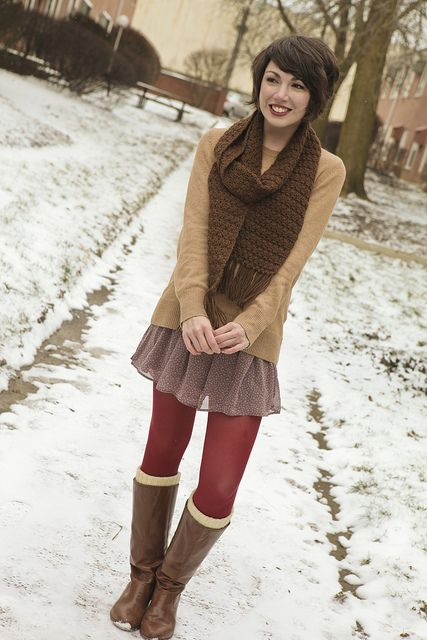 long sweater, short skirt, colored tights