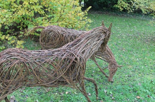 #Willow #sculpture by #sculptor Sophie Courtiour titled: 'Playing Horses (Willow Prancing Horses statues)'. #SophieCourtiour