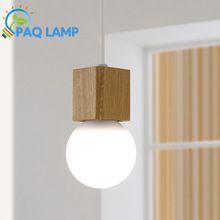 Vintage pendant light Oak Wood Retro lamp 120cm color wire E27/E26 socket wood lampholder Hanging light fixture.no light bulbs(China (Mainland))