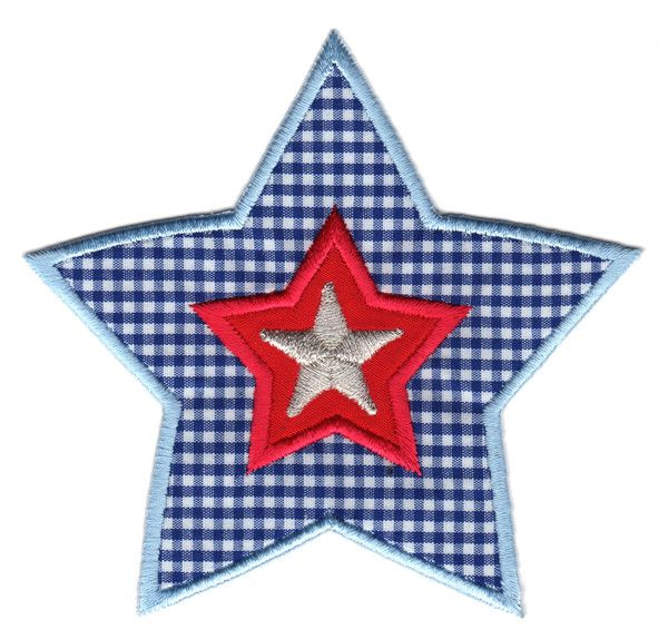 "Blue & Red Star Iron-On Applique Patch - Size: 3-3/4"" x 4"" (9-1/2 x 10 cm) - $5.49"