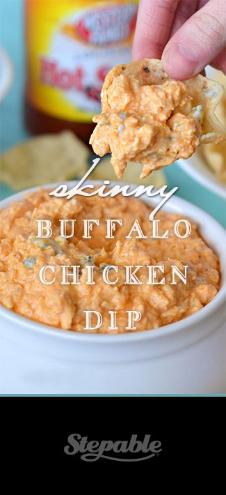 Spicy, creamy skinny buffalo chicken dip bursting with flavor and ready in 20 minutes. Lower in calories thanks to @Chobani Greek Yogurt @Stepable #dips #superbowl #recipes