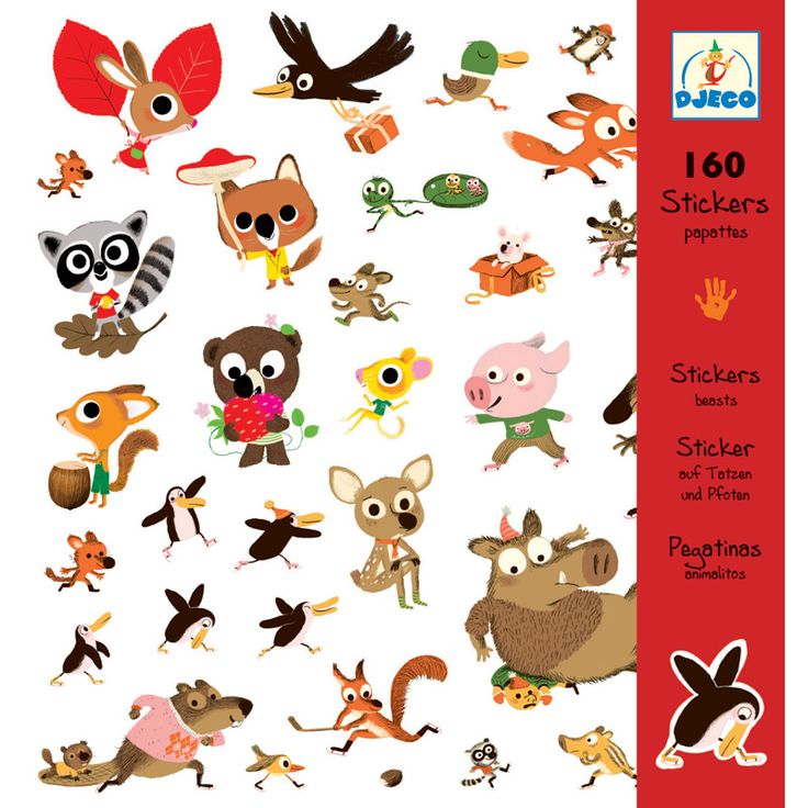 Djeco Stickers Beasts Djeco Beast Stickers has a multitude of fun woodland animal images ideal for decorating cards and gifts, creating home story books, for making your own posters and for general sticking fun.  Beautifully illustrated, each Djeco Stickers pack contains 4 sticker sheets (dimensions 21.5 by 23cms) a total of 160 themed stickers in all. Suitable for children 3 years old upwards. Djeco stickers are perfect for girls and boys party bags