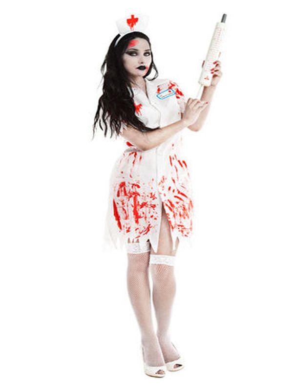 El disfraz de enfermera zombie mujer, incluye vestido y diadema en DisfracesMimo.com