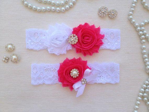 wedding garter set white/hot pink bridal garter set by venusshop, $19.90