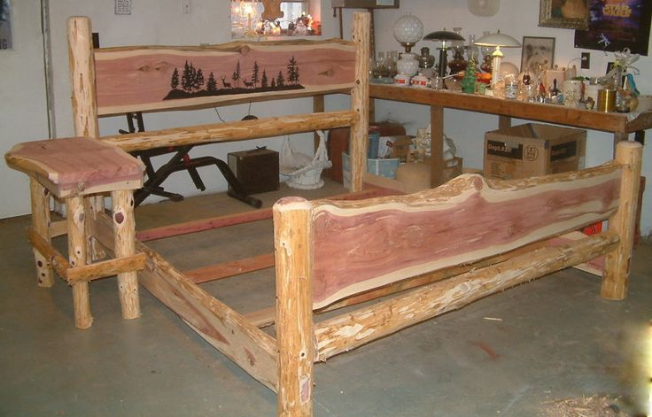 Red cedar bed red cedar queen size bed with routed for Cedar wood headboards