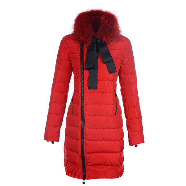 Moncler 2012 New Mayuko Grosgrain Bow Long Down Coat Red http://www.
