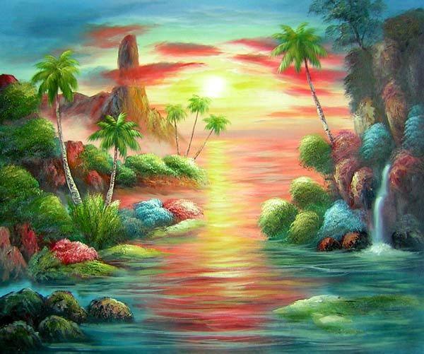 Peinture tableau paysage mer recherche google dessins peintures pinterest recherche - Paysage peinture facile ...
