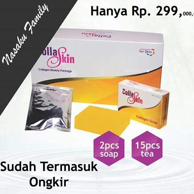 Produk ini merupakan sebuah paket dimana berisi 2 (dua) jenis produk perawatan kulit yaitu produk sabun (collaskin soap) yang mempunyai manfaat merawat kulit dari luar, serta produk minum berupa minuman teh yang merawat kulit dari dalam, dan dari kedua jenis produk dalam 1 paket ini mengandung senyawa yang dinamakan Collagen yang baik untuk merawat kulit. Oleh karena adanya senyawa inilah produk ini dinamakan Collagen Skin NASA atau Collaskin. Produk ini adalah produk pertama di Indonesia…