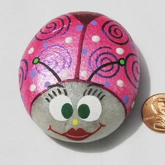 Hand Painted Rocks - Metallic Pink Swirls Bug