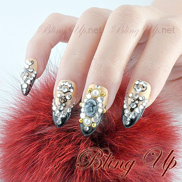 Bling Up Inc. - Gothic Queen Style Long Pointed Nail Tips with Lace and Rhinestones, $42.99 (http://www.blingup.net/gothic-queen-style-long-pointed-nail-tips-with-lace-and-rhinestones/)
