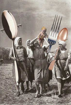 This design is lighthearted and a little funny. The designer took away the real tools in the picture and replaced them with over sized utensils. The only thing that bothers me is that the utensils are different colors than the background.