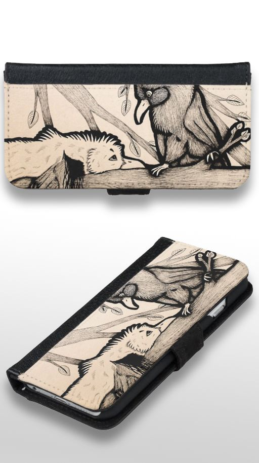 """The Pirate and the Princess"" Black and white illustrated bird Wallet Phone Case For iPhone 6/6s"