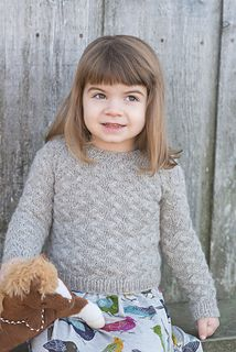 """""""Little Coastal Pullover,"""" by Hannah Fettig, knit in Fibre Company Cumbria Worsted."""