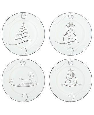 Noritake Dinnerware, Set of 4 Platinum Wave Holiday Appetizer Plates
