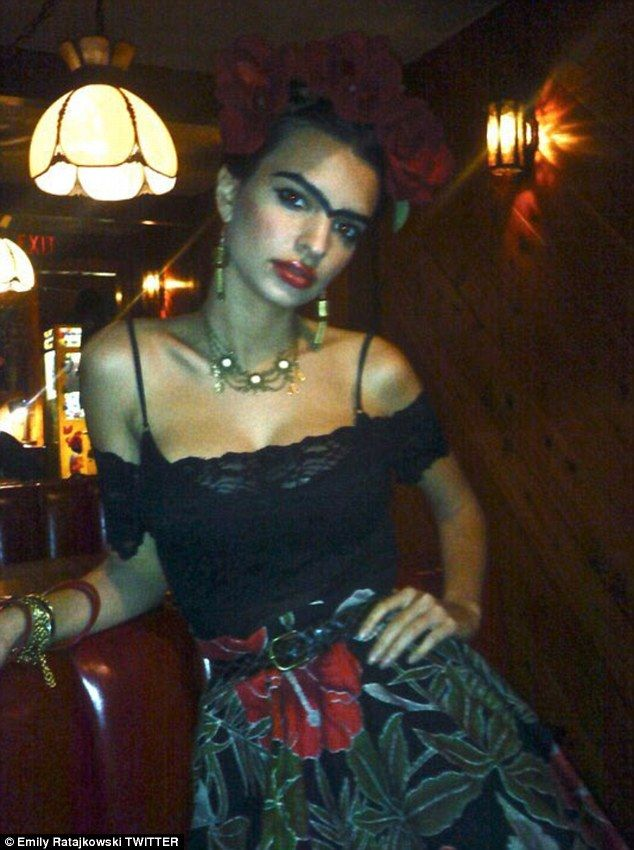 'Way back in 2009': Earlier in the week, Emily Ratajkowski, 25, shared a photo of herself dressed as iconic Mexican painter, Frida Kahlo