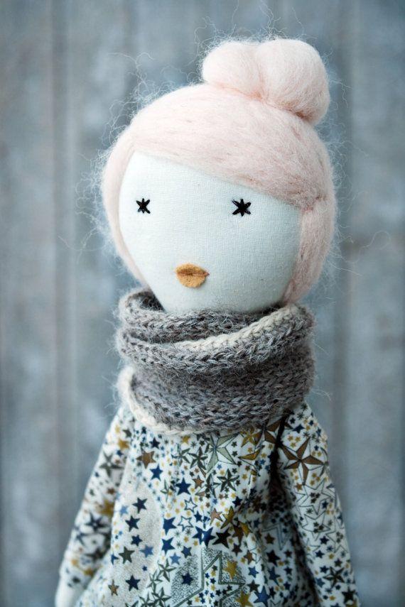 Doll Rag doll soft doll handmade liberty one by lespetitesmainsS