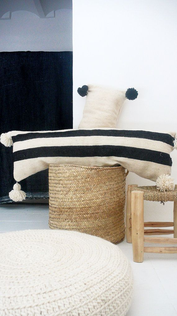 Moroccan POM POM Wool Pillow Cover - Extra Long in Black Bands Each of cushions cover is cut from an Wool Blanket, handwoven in Morocco on