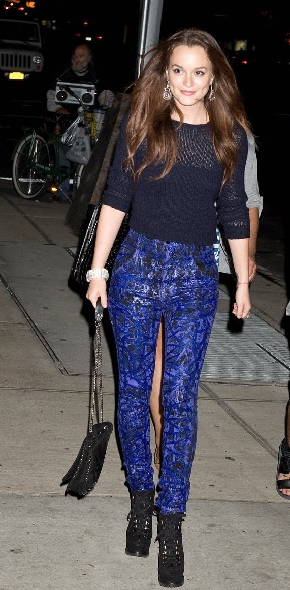 Leighton Meester Wearing Painted Jeans