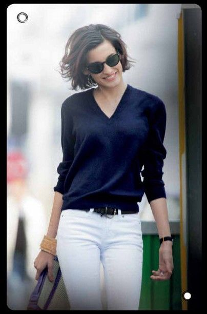 Classic navy and white as worn by Nine d'Urso (daughter of Inès de La Fressange)