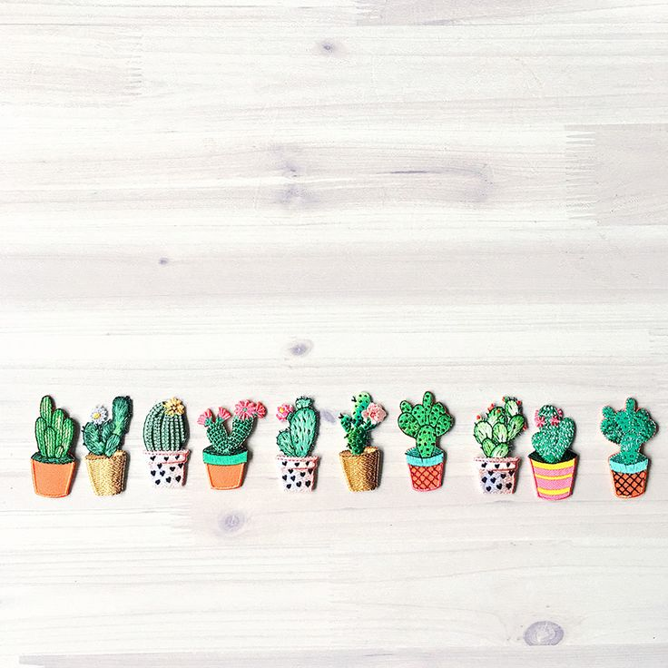 Iron-on patches. Fun Cactus duowould make a lovely addition to any project. Beautifully finished and can be ironed on or sewn in place.