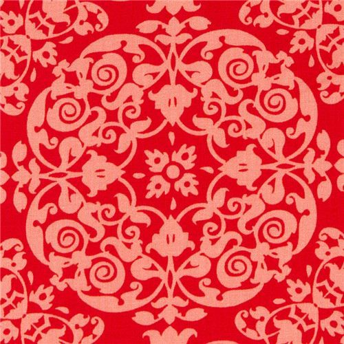 coral Michael Miller fabric with ornaments beautiful fabric from the USA with many ornaments in coral colours