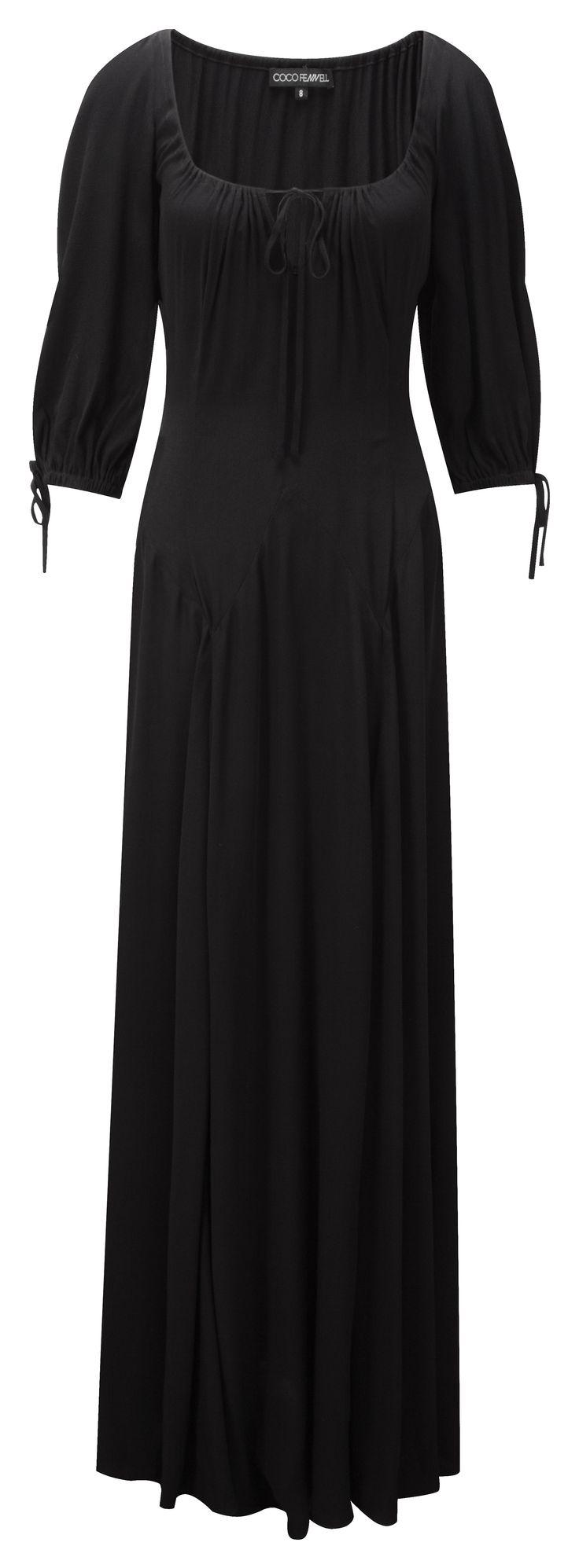 3/4 sleeve black maxi dress